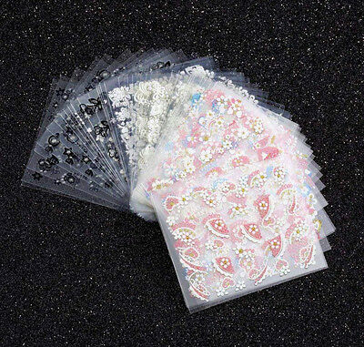 50 X Sheets 3D Design Nail Art Sticker Tips Decal Flower Manicure Stickers