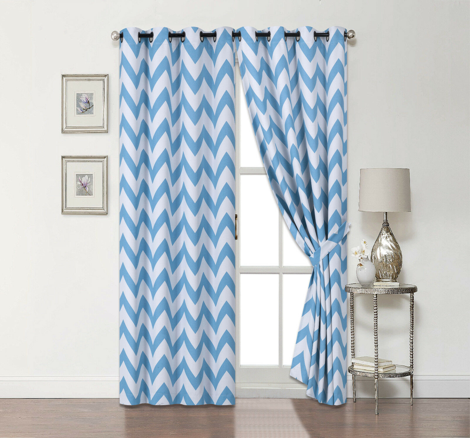 2 Pack: Chevron 100% Blackout Curtains W/ Tiebacks - Assorted Colors & Sizes