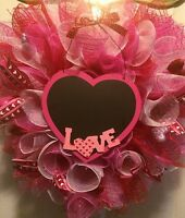 Valentines Day Wreath Heart Deco Mesh Red Pink White