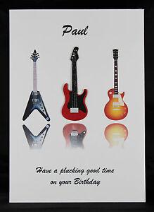 Personalised handmade mens boys guitar birthday greeting card by image is loading personalised handmade men 039 s boy 039 s m4hsunfo