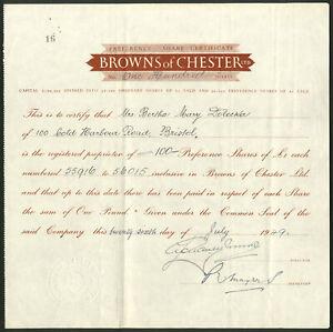 Browns di Chester Ltd, £ 1 AZIONI PRIVILEGIATE, 1949