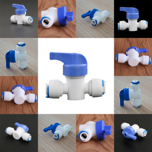 """1//4/"""" Inline Tap Recto Purifier Ball Valve For Water Filter White Plastic New"""