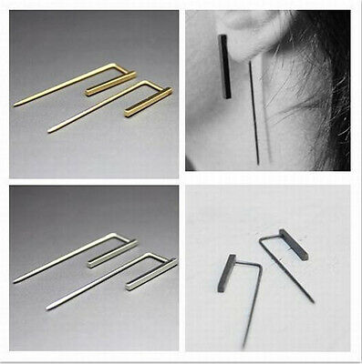 1.7cm Trendy High Copper Casting Geometric Rectangle Lady Club Earrings 3 Color