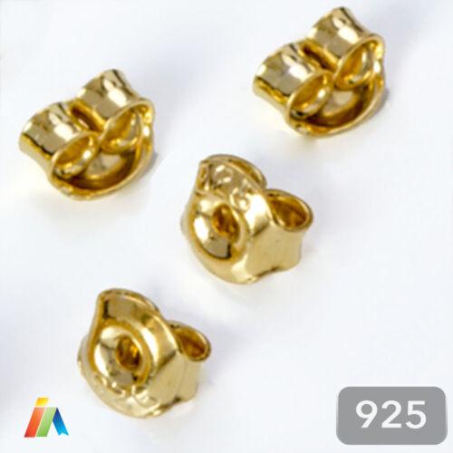 925 plata esterlina sólida Pequeño Pendiente Mariposa Backs pergaminos Tapón 5 mm