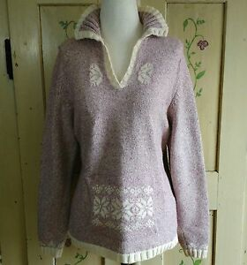 Woolrich-Womens-Pullover-Sweater-Size-M-Dusty-Pink-Ivory-Marled-Knit-Fair-Isle