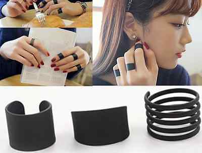 Black Stack Plain Above Knuckle Ring Band Midi Rings HS8 3PCS Ring Set