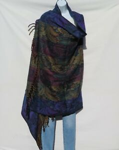 Purple Yak Wool|Shawl//Throw//Wrap Handloomed|Reversal|Flora|Base Colors