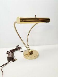 Vintage-Mid-Century-Double-Gooseneck-Brass-Desk-Lamp-Dual-18-Flexible-Necks