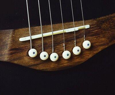 6 String Acoustic Guitar Bone Bridge Saddle and Nut and 6pcs Guitar Bone Bridge Pins Made of Real Bone