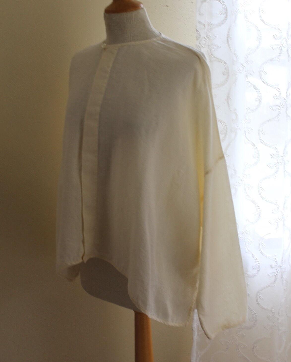 Eskandar -Sz 0 Ivory 100% Linen Boxy Romantic OverGrößed Lagenlook Hemd oben ++