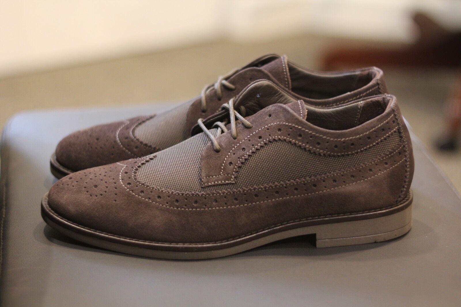 A. Testoni braun Suede Suede Suede Brogue Leather Derby schuhe Rubber Sole New Sz 9 Italian 15d511