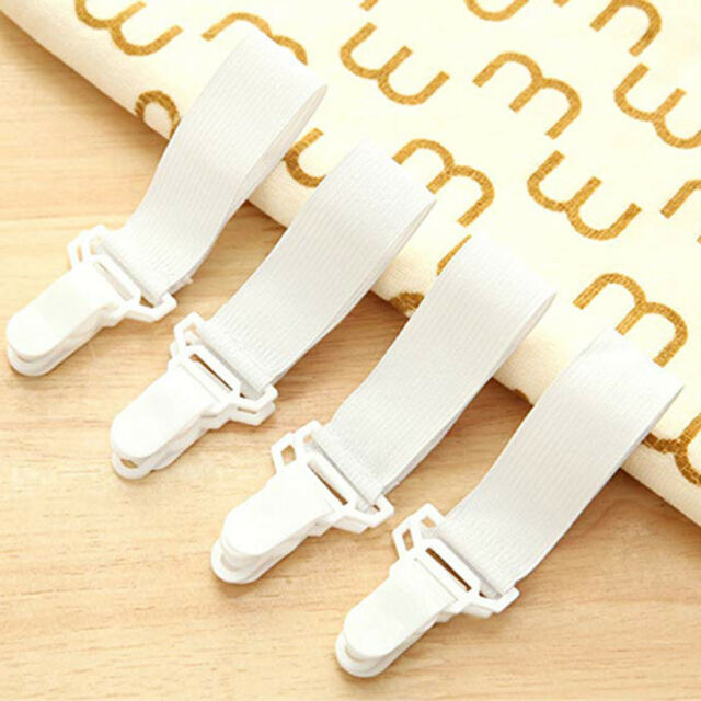 4pcs Fitted Bed Sheet Holder Grips Mattress Gripper Straps Clip Fastener Hold LY