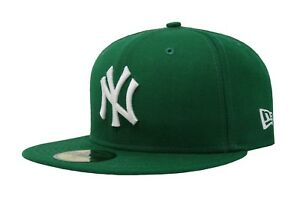 New-Era-59Fifty-Hat-MLB-New-York-Yankees-Mens-Green-White-Fitted-5950-Cap