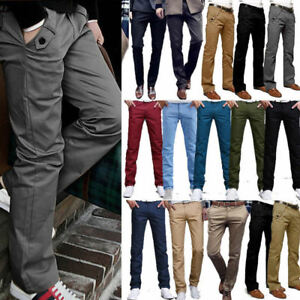 Mens-Chino-Trousers-Stretch-Straight-Slim-Fit-Jeans-Casual-Formal-Cotton-Pants