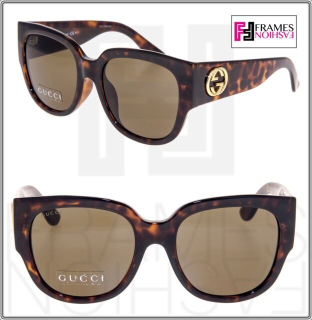 dc7fc0bab16 Frequently bought together. GUCCI GG3836FS Square Oversized Brown Havana  Gold Sunglasses ...