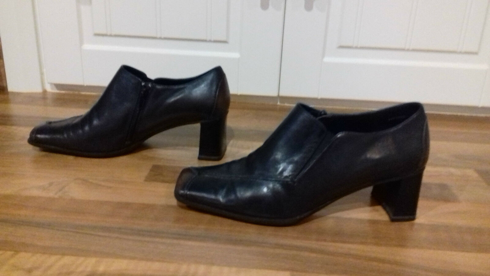 sze 4(37)top quality leather expensive v comfy black leather quality designer shoe with sidezips 231dbe