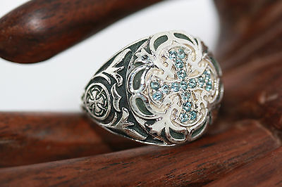 Sterling Silver Gemstone Blue Topaz Maltese Cross Templar Knights Ring Sz 9