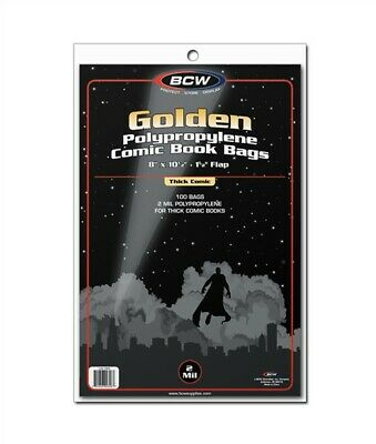 BCW 200 RESEALABLE THICK Golden Comic Poly Bags 200 Acid Free Backing Boards