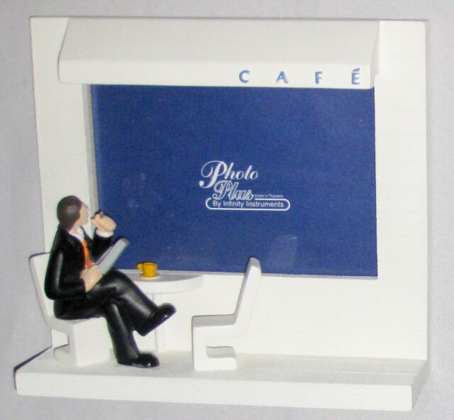 "Unique White  7 1/2"" Man at CAFE Figurine in Front of Picture Frame Window"
