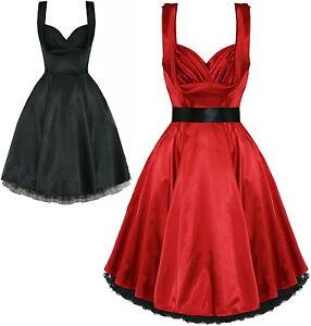 50s-Vintage-Rockabilly-Satin-Pin-Up-Formal-Wedding-Cocktail-Dress-AU-sizes-6-amp-8