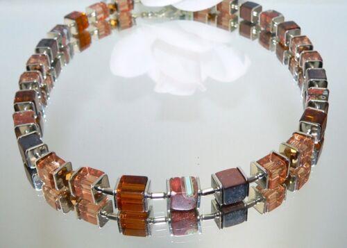 Würfelkette Halskette Perlen Millefiori Glas gold sand cognac braun 092k