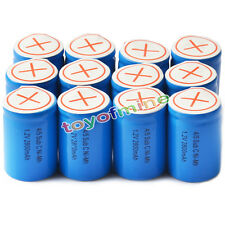 12pcs 4/5 SubC Sub C 2800mAh 1.2V Ni-Mh Rechargeable Battery Blue Cell with Tab