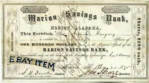 1875-STOCK-CERTIFICATE-Alabama-MARION-SAVINGS-BANK-Howze-JAMES-GREGORY-Fowlkes