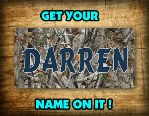 Personalized Camo Hunting License Plate Buck Deer Doe Duck Camouflage Auto Tag