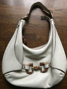 4c58eedc82 Details about Gucci Off White Leather Large Hobo Bag w/ Signature Gucci  Hardware