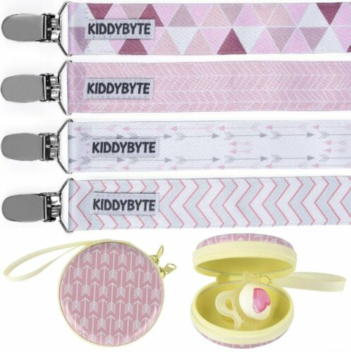Teething Clips for Babies 4 Pack Baby Pacifier Clip with Case Holder for Girl