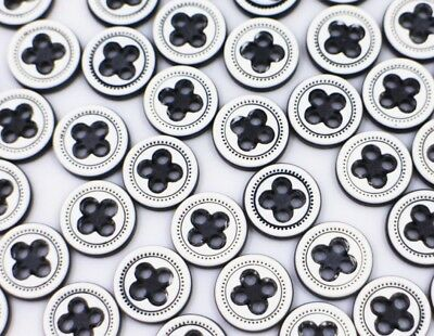 Black Ring Four Holes Button Round Shaped Small Blouse Shirt Buttons 11mm 20pcs