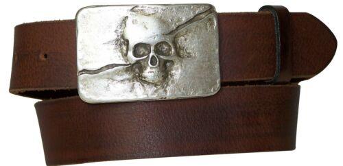 """new skull buckleorganic leather 17614 FRONHOFER unisex belt  ~1.57 /"""" 4 cm"""