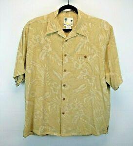 Banana Cabana S/S Herren X-L Hawaii Knopfleiste Shirt Gold Blumenmuster Seide