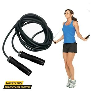 Leather Speed Skipping Rope Fitness Jump 9ft Wooden Handle Home Gym Exercise Rop