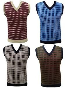 MENS-KNITTED-VEST-SLEEVELESS-RETRO-VINTAGE-JUMPER-TANKTOP-TANK-TOP-GOLF-SWEATER