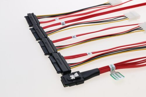 3Ware SAS cable SFF-8087 to SFF-8482 power x4 SAS Red Cable Free Shipping LSI