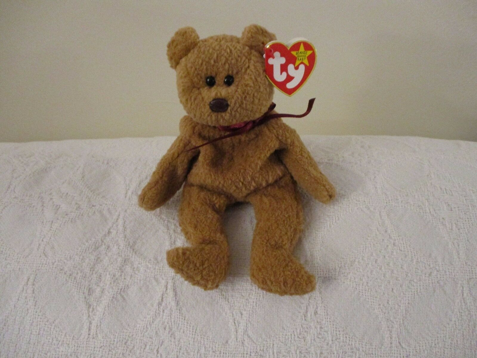 TY Beanie Babies  CURLY , Brown Teddy Bear, 1996, Retired COLLECTIBLE 15 ERRORS