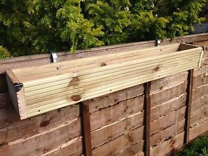 Image Is Loading Over The Fence Panel Hanging Balcony Wooden Planter
