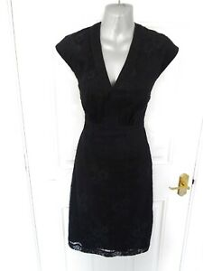 REISS-Ladies-Size-6-US-2-Black-Lace-Wiggle-Occasion-Dress-Lined-Back-Zip