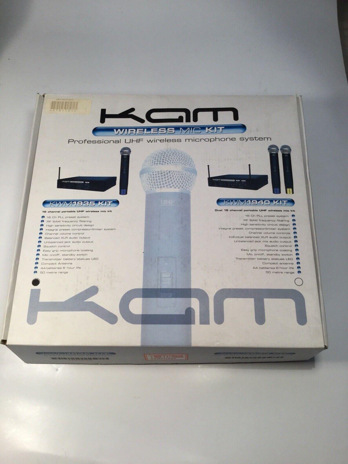 KAM KWM1935 16 Channel Portable UHF Wireless Mic Kit Ref 695A