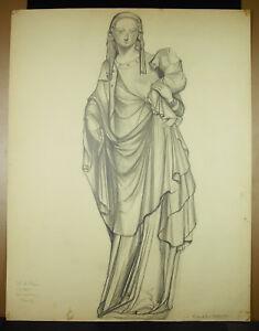 F Saint-rené Taillandier Dessin Original C1900 D'une Madone Du Xvie (cf Louvre) Forte RéSistance à La Chaleur Et à L'Usure