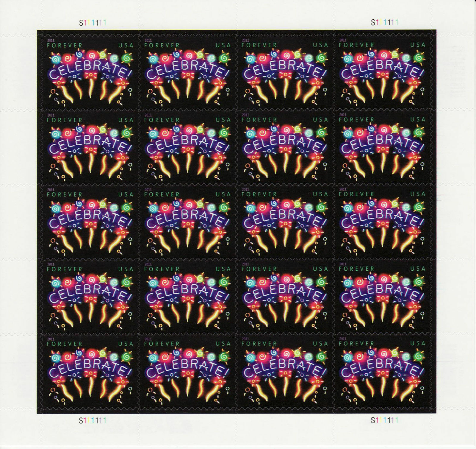 2011 44c Neon, Celebrate, Sheet of 20 Scott 4502 Mint F