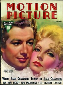 MOTION-PICTURE-Jan-1937-GRETA-GARBO-amp-ROBERT-TAYLOR-cover-by-MOZERT