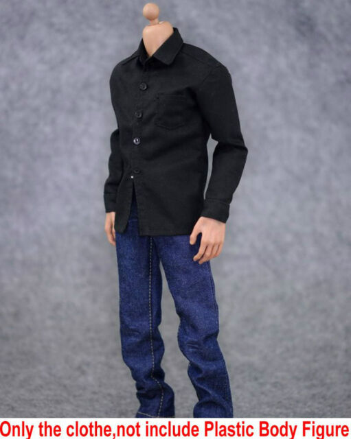 "1/6 ZY Toy Soldier Model Clothes Black Shirt Jeans Suit fit 12"" Action Figure"