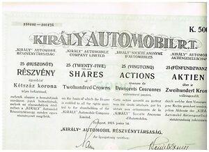 'Kiraly' Automobil AG, Budapest 1923, 25x200 Kronen, ungelocht/ Kupons - Berlin, Deutschland - Rücknahmen akzeptiert - Berlin, Deutschland
