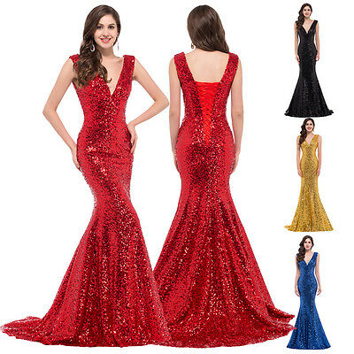 Sequins Sexy Mermaid Long Wedding Prom Evening Gown Formal Cocktail Party Dress