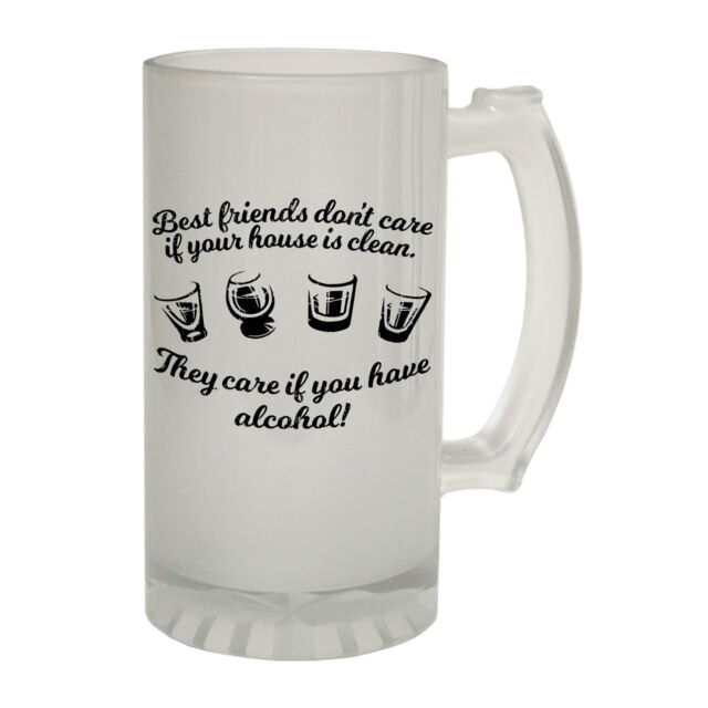 123t Frosted Glass Beer Stein - Best Friends Alcohol - Funny Novelty Christmas