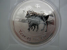 """2009 - PERTH LUNAR -"""" YEAR OF THE OX"""" - 1OZ. GEM PROOF -  .999 AG - LOW MINTAGE!"""