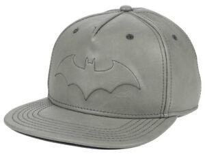 2de22b59544dc Batman DC Comics Men s Tonal Faux Leather Snapback Hat Cap - Grey ...