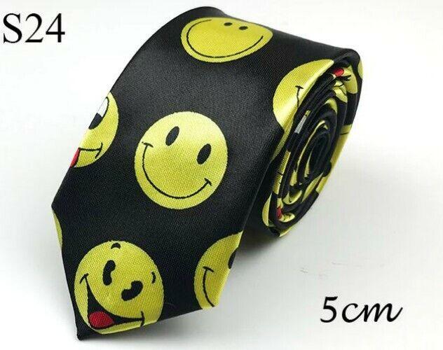 Unisex Novelty Fancy Dress Black & Yellow Emoji Funny Faces Skinny Tie Brand New